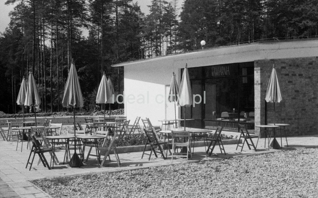 Stoliki i parasole przed nowo ukończonym modernistycznym pawilonem kawiarni.