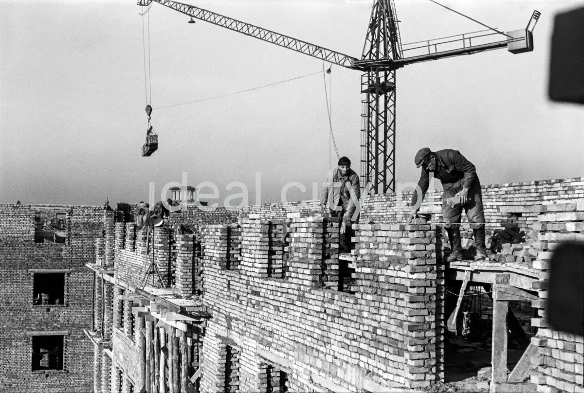 The bricklayers are laying bricks on the next floor of the building under construction, with a crane in the background.