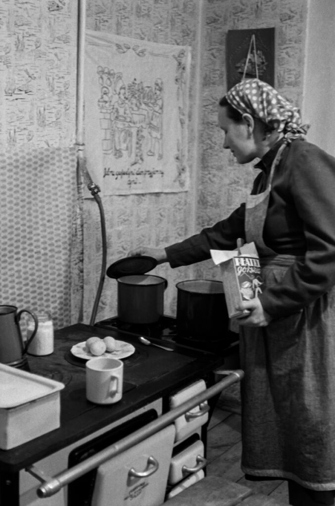 A woman with a scarf on her head and a kitchen apron looks after a meal that is cooking on the stove.