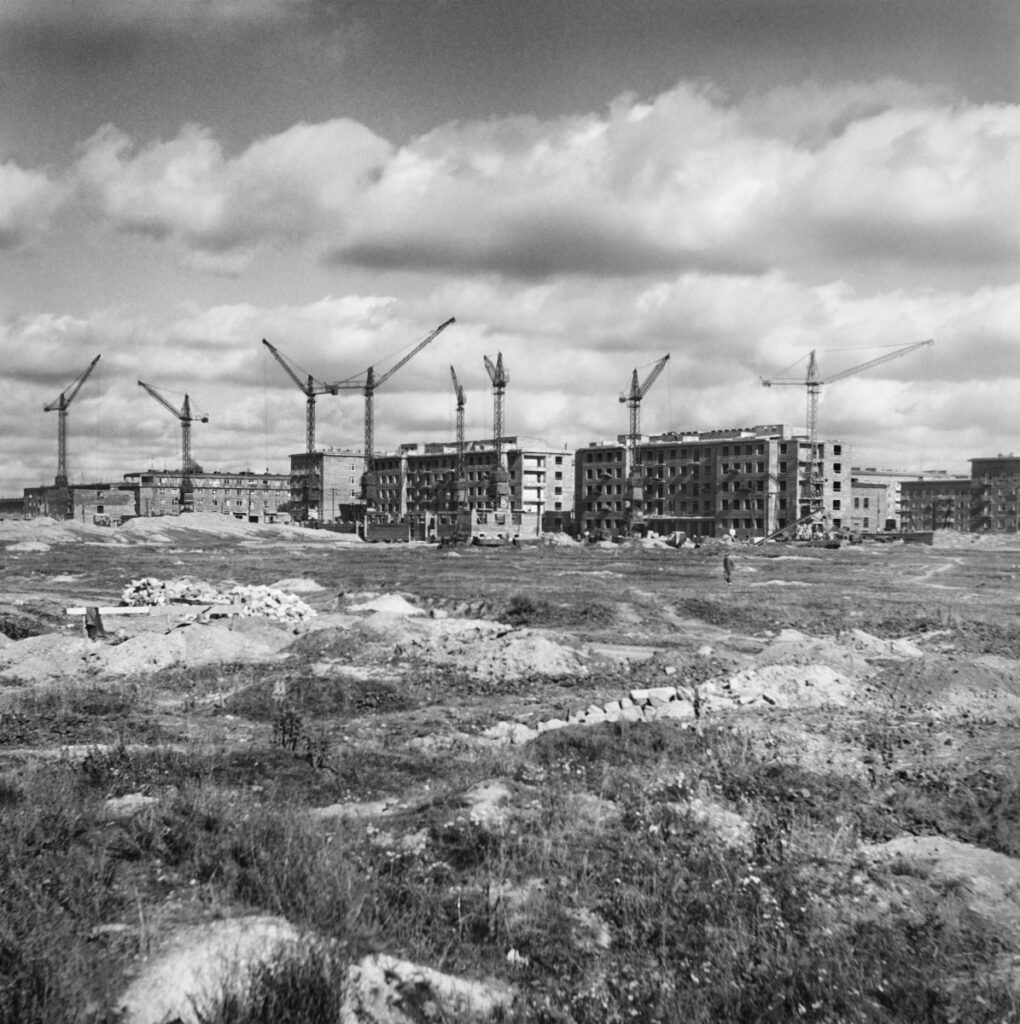 A view of the city under construction, a meadow in the foreground, then construction cranes and houses being built around them.