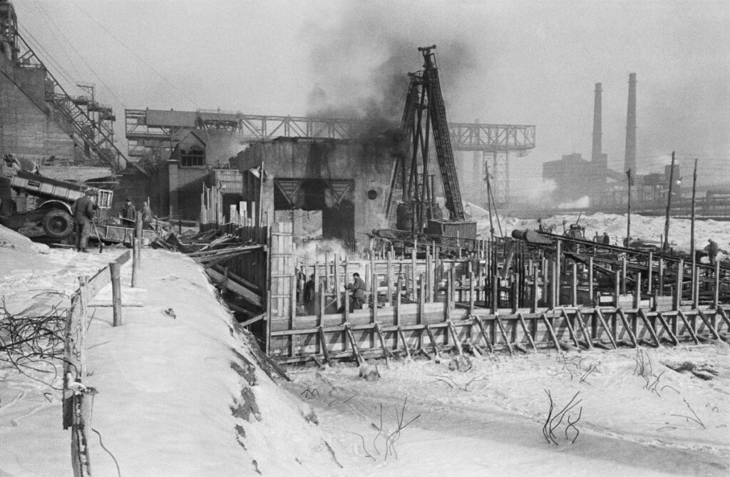 View of the spatial chaos of the plant during construction, winter shot.