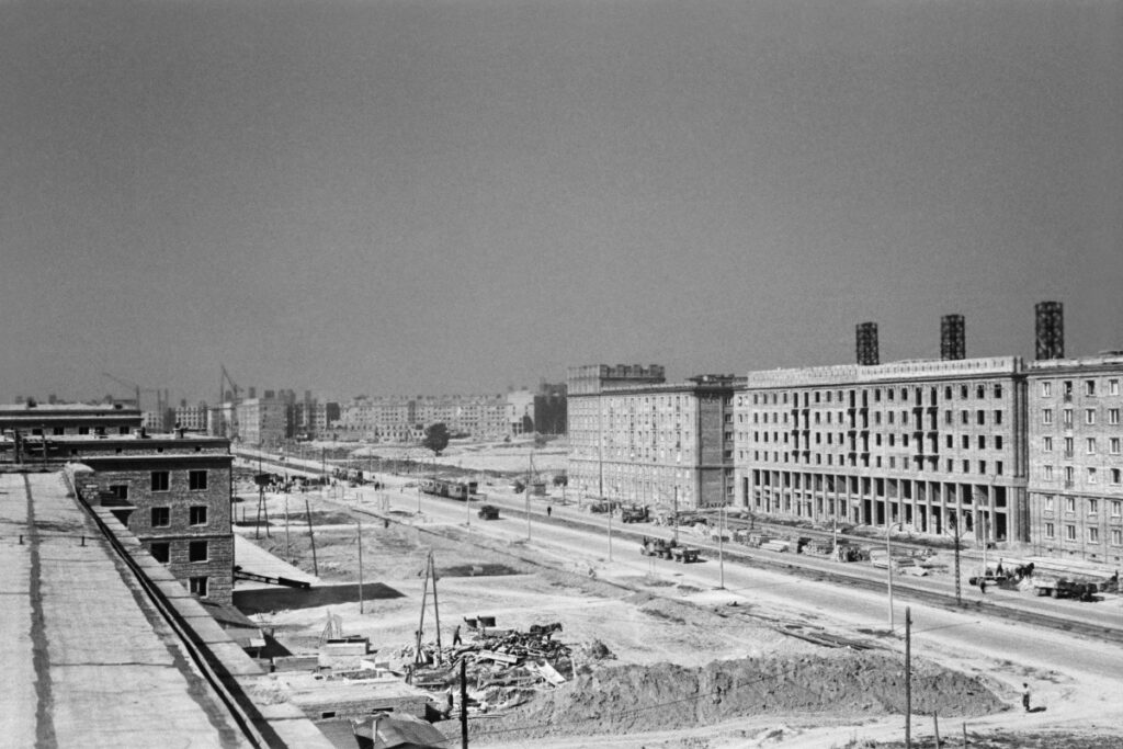 Panoramic view from above on the construction of residential estates.
