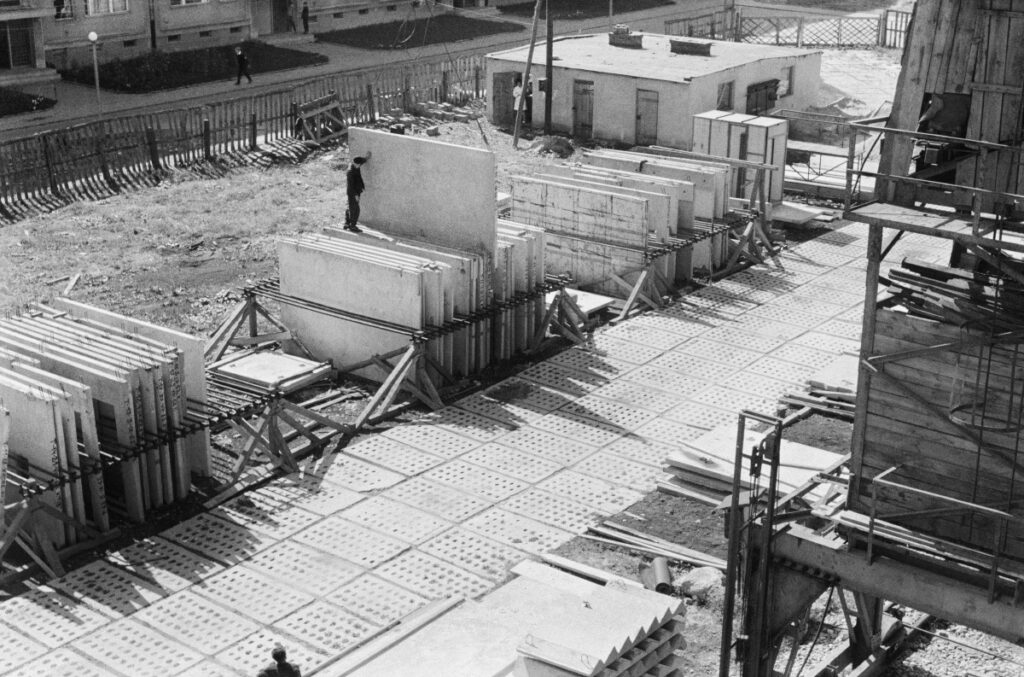 View from above on the composition of prefabricated panels.
