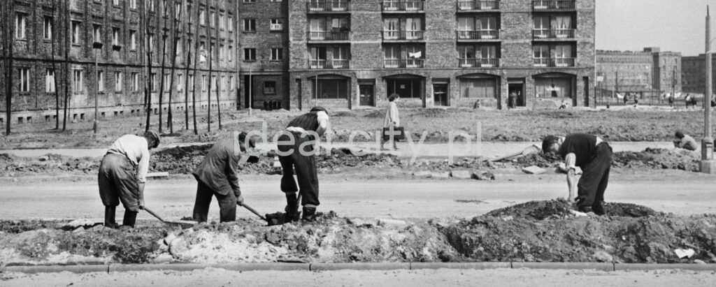 Workers carry out the finishing works along the street with shovels.