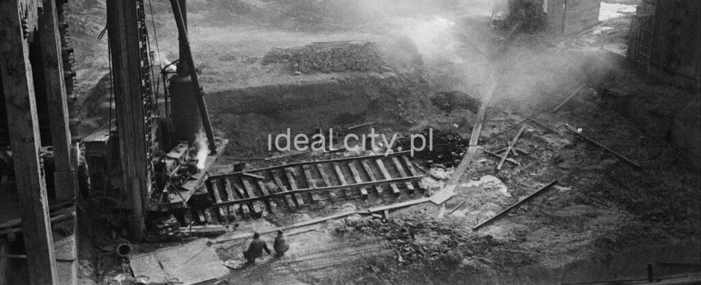 Top shot of broken railway tracks, chaos all around