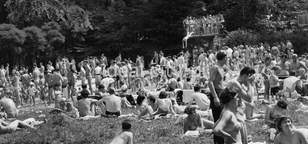 A crowd of people relaxing by the pool, in the background someone jumps into the water from a low springboard.