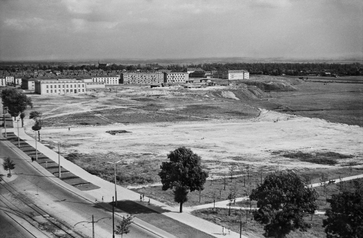 Widok z wysokiego budynku na niezagospodarowaną, wychodzą łąkę. W tle dwu, trzypiętrowe zabudowy mieszkalne.