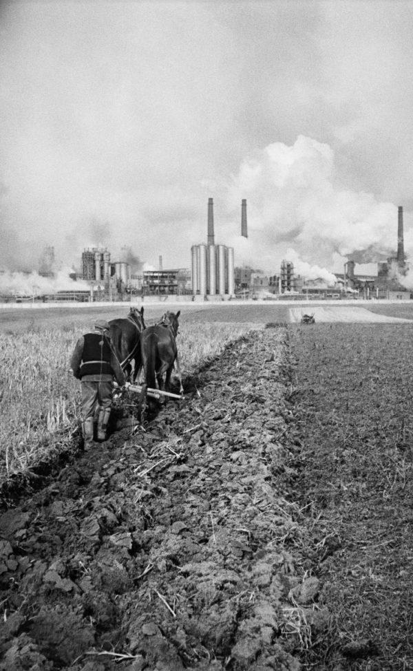 Rolnik orze pole za pomocą pługu zaprzągniętego do dwóch koni. W tle dymiące intensywnie kominy kombinatu.
