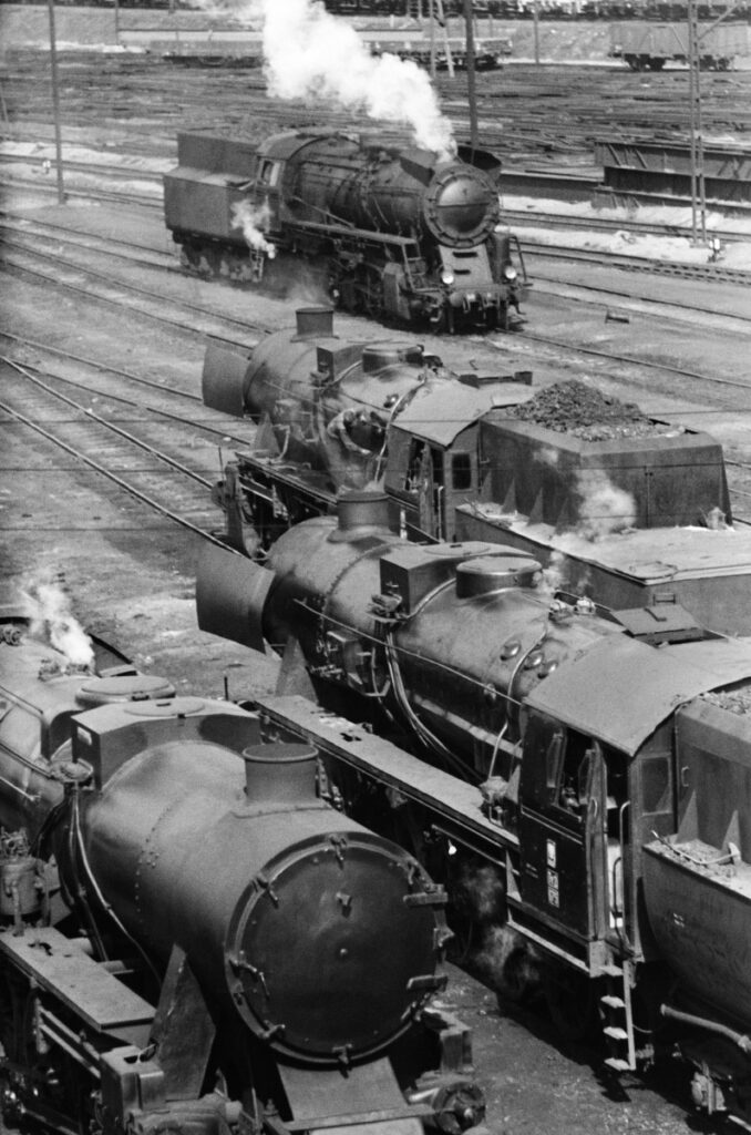Top view of a series of transport steam locomotives.