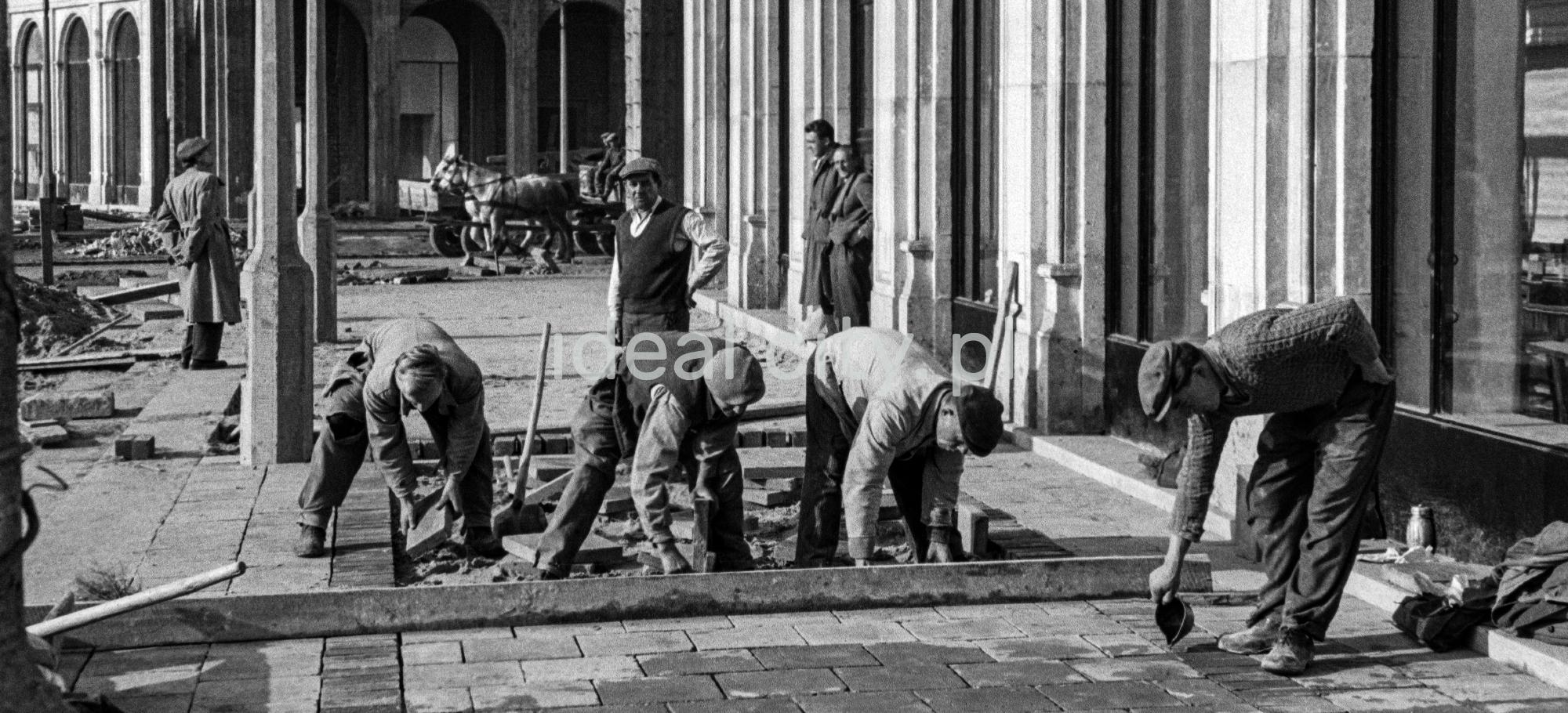 Robotnicy pochyleni nad układaniem płyt chodnikowych.
