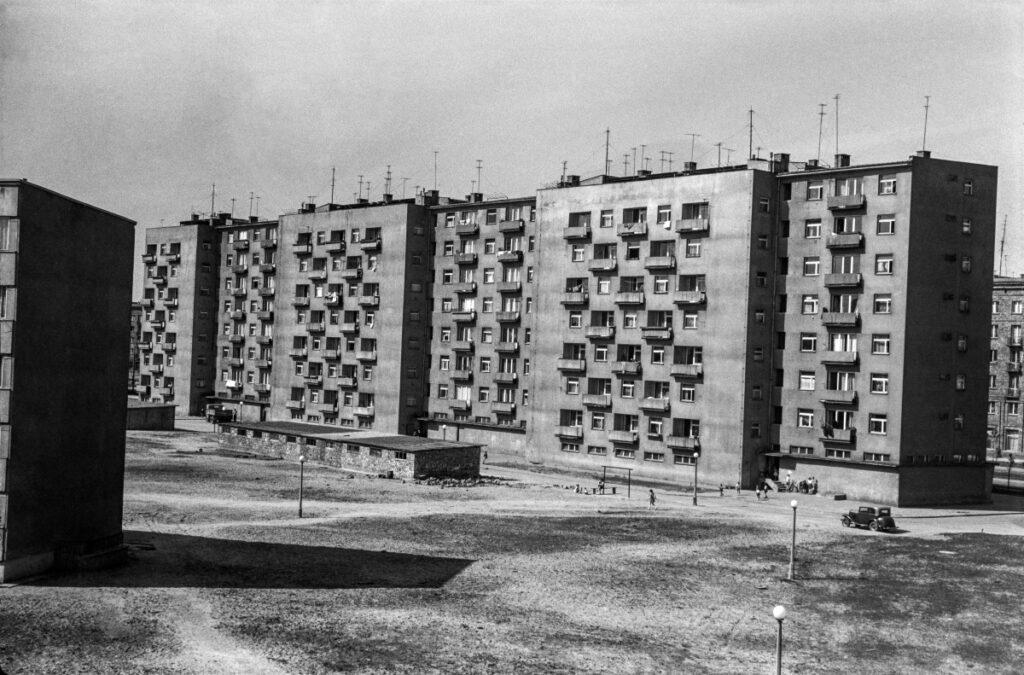 View on apartment blocks.