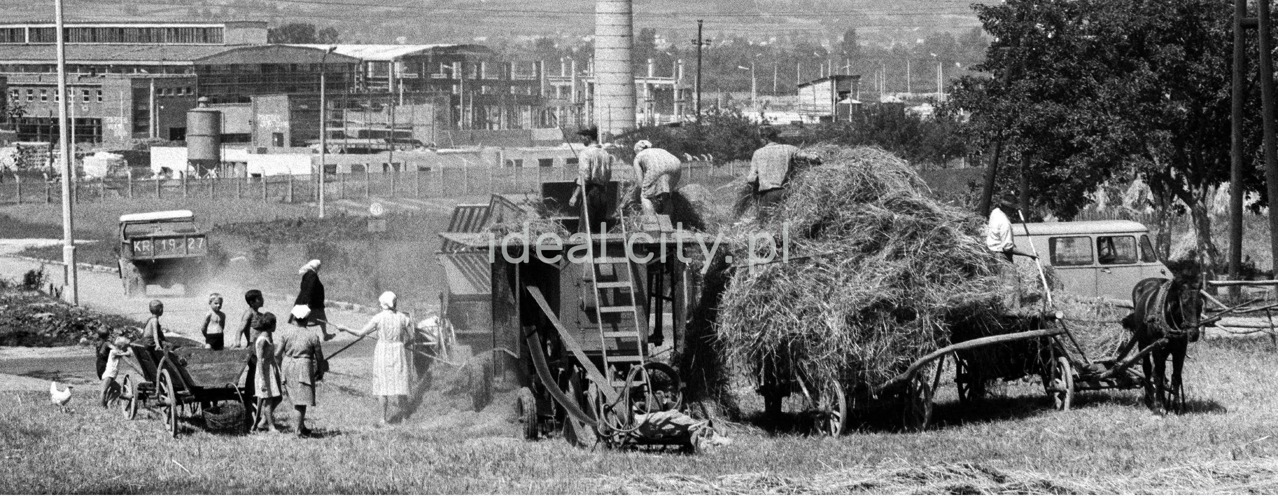 Rodzina zbiera siano na wóz konny, w tle zabudowa fabryczna, za nią góry.
