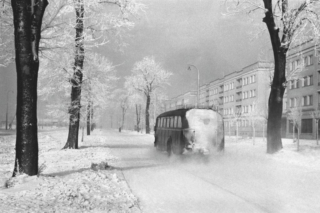 Autobus mknie zaśnieżoną ulicą, dookoła drzewa, w tle bloki.
