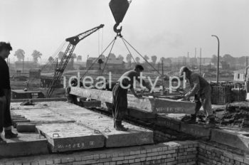 Construction of the Urocze Estate (previously the C-33 Estate). Ca. 1957.  Budowa Osiedla Uroczego (wczesniej osiedle C-33), ok. 1957r.  Photo by Henryk Makarewicz/idealcity.pl