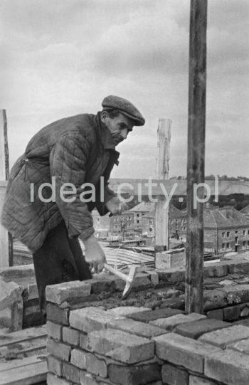 Construction of the Zielone Estate, in the background: Sportowe Estate. 1950s.  Budowa Osiedla Zielonego, w tle Osiedle Sportowe, lata 50. XXw.  Photo by Wiktor Pental/idealcity.pl