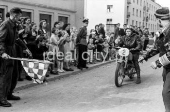 Polish Female Motorcycle Race, 1956. Na Skarpie Estate.  Ogólnopolski Motocyklowy Rajd Kobiet, 1956r. Osiedle Na Skarpie.  Photo by Wiktor Pental/idealcity.pl