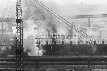 Lenin Metallurgical Combine, fragment of steelworks infrastructure, conveyors for moving ores, coke and other materials in the background. Early 1960s.