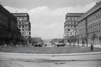 Aleja Róż – skwer wypoczynkowy, widok na narożne budynki zmykający osiedle  B-31 (Centrum B) i C-31 (Centrum C) przy alei Przyjaźni Polsko-Radzieckiej (obecnie aleja Przyjaźni), w tle widoczne zabudowanie osiedla B-33 (Słoneczne) i C-33 (Uroczego), II poł. l.50.XX w.  fot. Wiktor Pental/idealcity.pl