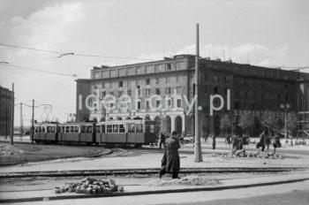 Plac Centralny, widok na budynek mieszkalny na osiedlu C-31 (Centrum C), l.50.XX w.  fot. Wiktor Pental/idealcity.pl