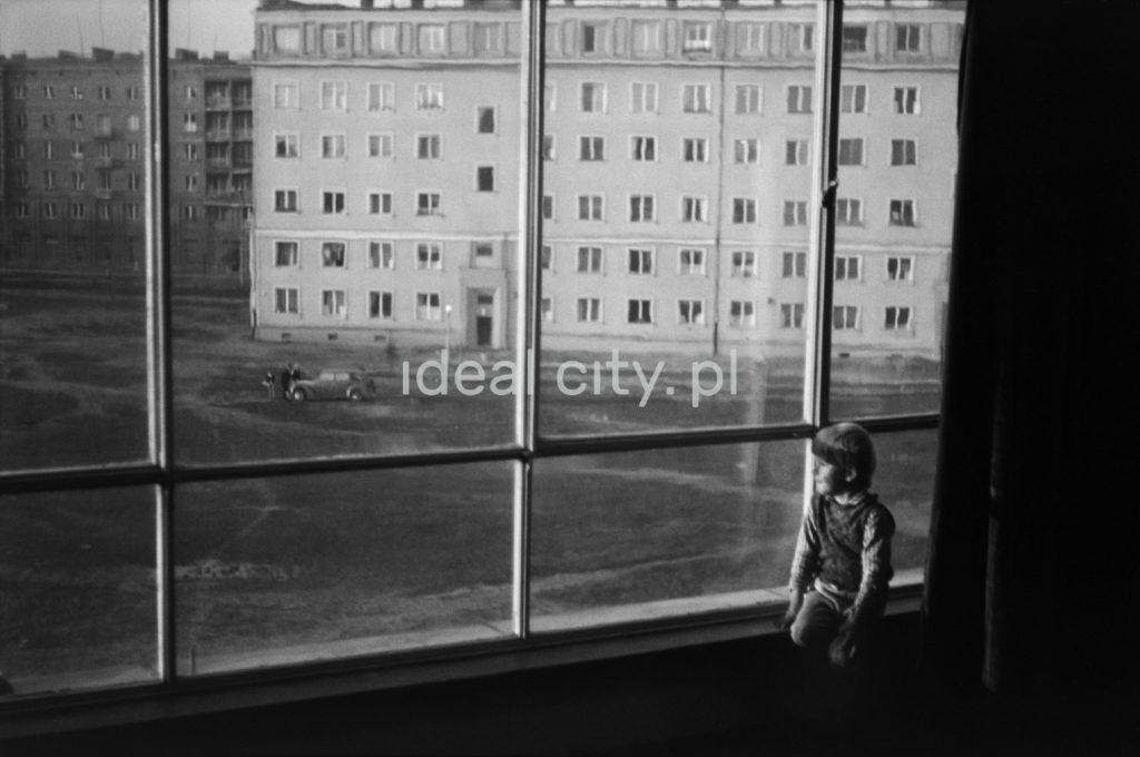 Dziecko spogląda na podwórko pomiędzy blokami przez obszerne okno swojego mieszkania.