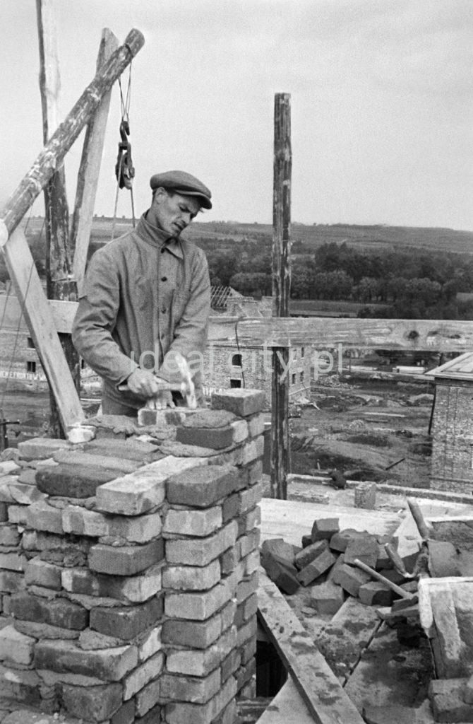 Murarz w kaszkiecie układa cegły na wyższej kondygnacji budynku.