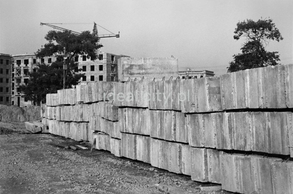 Ujęcie na ciąg betonowych bloczków konstrukcyjnych.